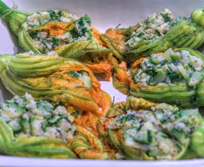 Zucchini flowers stuffed with herbs