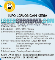 Info Lowongan Kerja Surabaya Terbaru di PT. Osborn Nutrindo Juli 2019