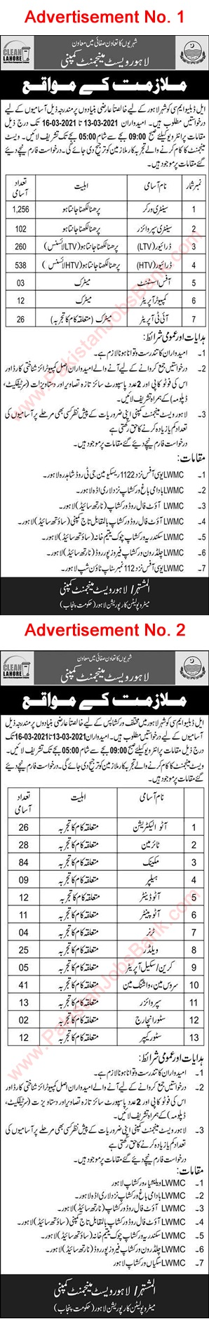 Latest Jobs in Pakistan Waste Management Company Lahore Jobs 2021