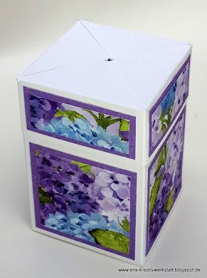 Zauberbox / Impossible Box mit Designerpapier Hortensienpark Stampin' Up! www.eris-kreativwerkstatt.blogspot.de