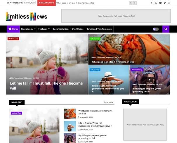 Limitless News Blogger Template For News Website