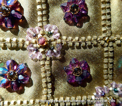 Detail of bead embroidery on silk purse. (Rare Vintage by Liz Vickery, Inspirations, bead embroidered purse)