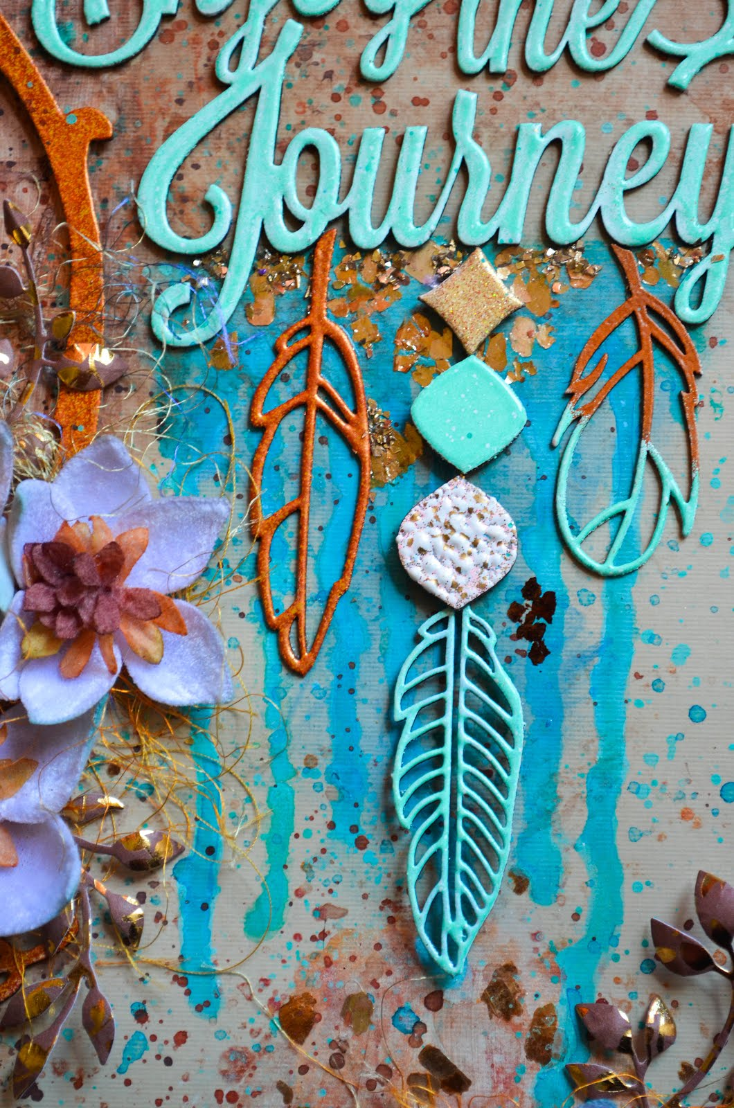 """Dream Catcher"" mixed media scrapbook layout in turquoise and copper with process and 3D chipboard feather tutorial. Mixed media scrapbook layout page in turquoise, aqua, copper, and bronze with chipboard frame and feathers with texture paste, watercolors, paint splatters, glimmer mist, mica flakes, die cut foliage, and Petaloo velvet magnolias."