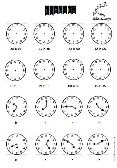 Exercice exercice sur l heure ce1 ateliers pour les - Palau de les heures ...