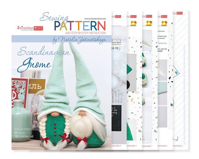 cover and sheets of PDF Christmas gnome sewing patterns and tutorials by Zatinatskaya Natalia