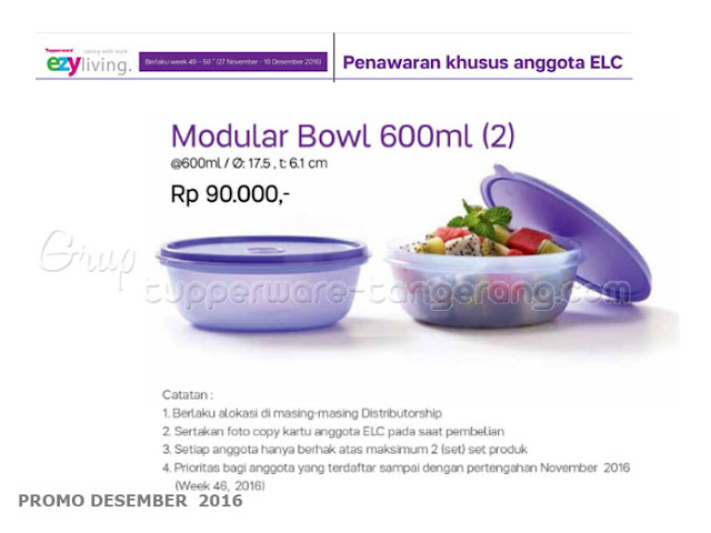 Modular Bowl 600ml Promo Tupperware Desember 2016