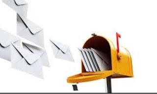 illustrasi surat beterbangan dari kotak pos