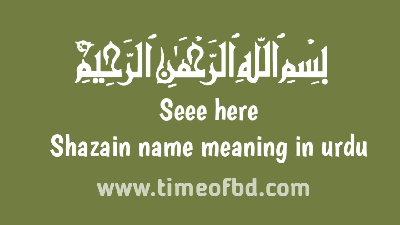 Shazain name meaning in urdu, اردو میں شازین نام کے معنی ہیں