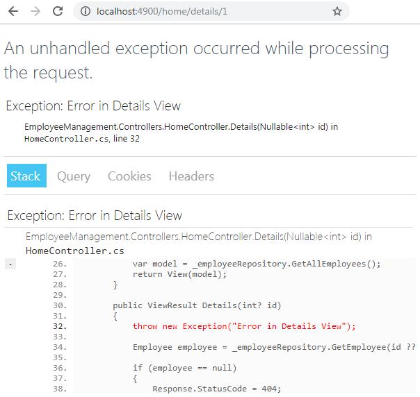 yellow screen of death in asp.net core