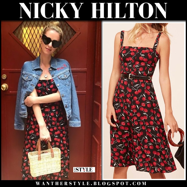 Nicky Hilton in black cherry print dress summer style june 20