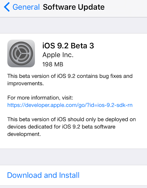 Apple has just seeded iOS 9.2 beta 3 (build number: 13C71) for developers for iPhone, iPad and iPod touch. The iOS 9.2 beta 3 is available via over-the-air update for devices running iOS 9.2 beta 2, and is also available via Apple's developer Member Center.