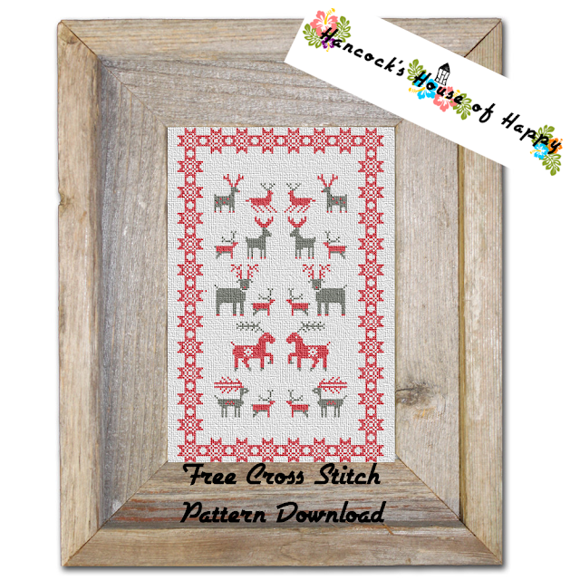 Free Cross Stitch Sampler Featuring Festive Cross Stitch Reindeer