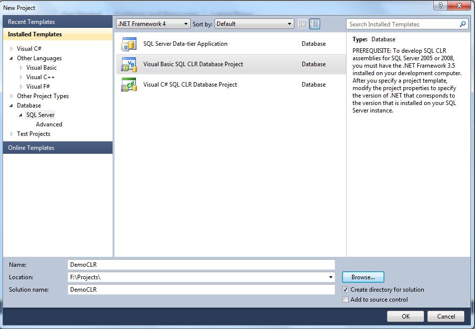 Exact Help: How to create CLR stored procedure in visual studio 2010