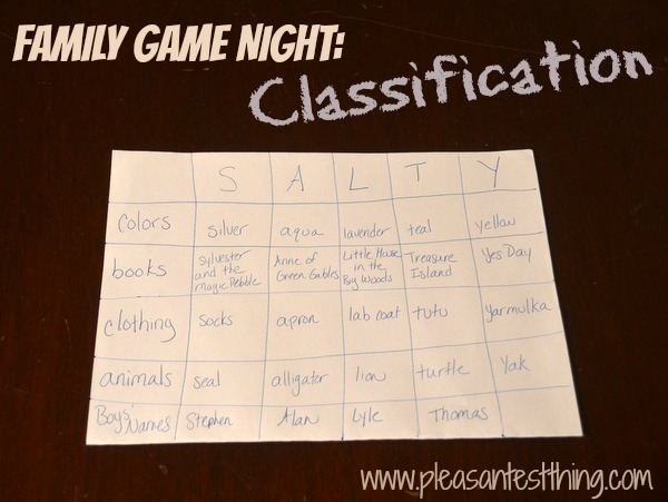 Family Game Night: Classification