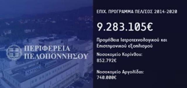 Δεκάδες εκατομμύρια από την Περιφέρεια Πελοποννήσου για τις δημόσιες δομές υγείας και τον ιατρικό κόσμο