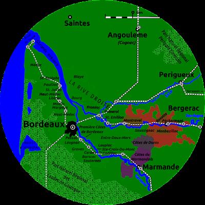 Map of Bordeaux wine area.