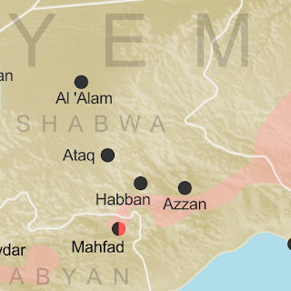Map of what is happening in Yemen as of May 21, 2017, including territorial control for the unrecognized Houthi government and former president Saleh's forces, president-in-exile Hadi and his allies in the Saudi-led coalition and Southern Movement, Al Qaeda in the Arabian Peninsula (AQAP), and the so-called Islamic State (ISIS/ISIL). Includes recent locations of fighting, including Azzan, Habban, Maydee, Nihm, and more.