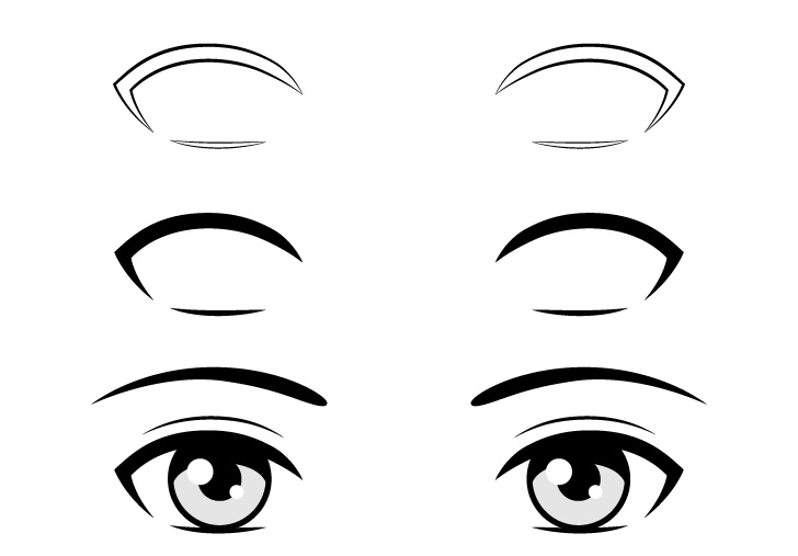 Anime bulu mata sederhana menggambar langkah demi langkah
