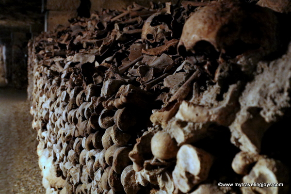 Long row of bones Catacombs of Paris