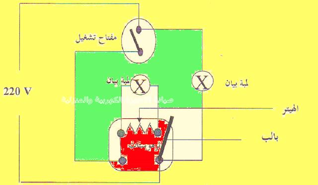 الدائره الكهربية لسخان المياه ا لكهربي