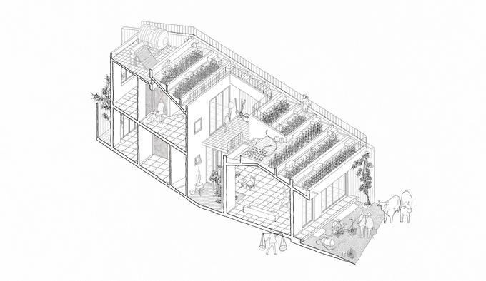 mặt cắt mô hình ngôi nhà