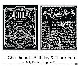 Our Daily Bread Designs Stamps Chalkboard - Birthday/Thank You