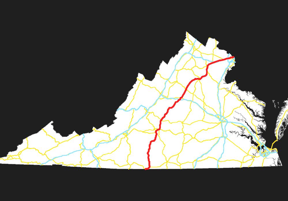 U S Route 29 In Virginia Road Map Of Virginia And North Carolina
