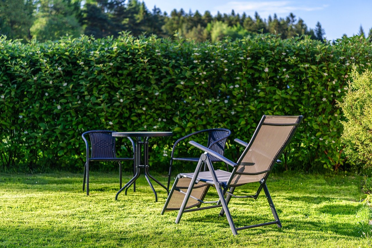 Property, garden, chairs in garden
