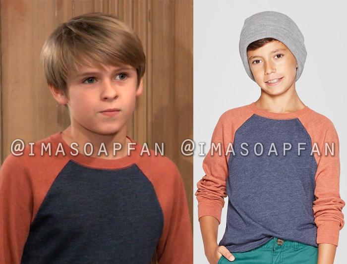 Jake Spencer, Hudson West, Navy Blue and Orange Raglan Long Sleeve T-Shirt, General Hospital, GH