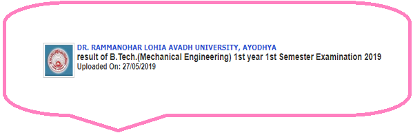 RMLAU B.Tech ME 1st Year 1st Sem Result 2019