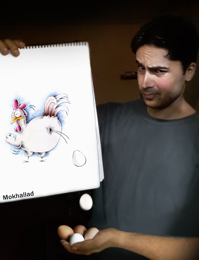 Mokhallad Habib and his creations found a good artistic niche to delight the curious eyes of people. He loves to mix drawings (realizes) with objects of real life to create surreal and unique scenes.