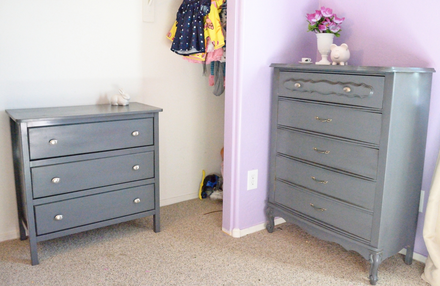 grey painted chairs personalized baby chair sew over it pretty in dresser makeovers