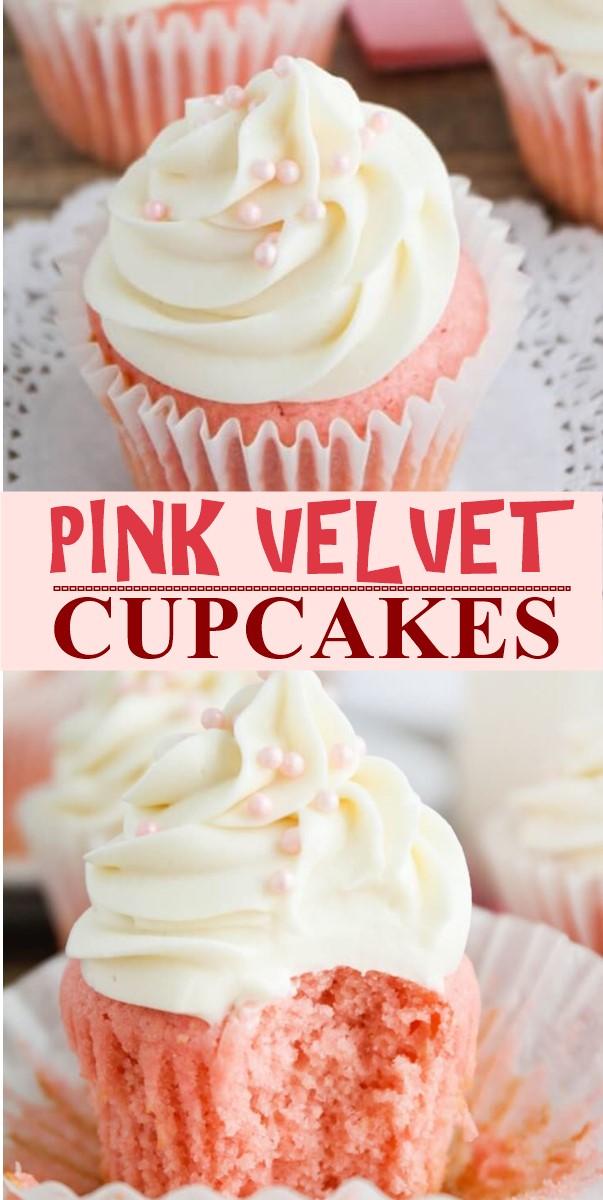 PINK VELVET CUPCAKES #cupcakesrecipes