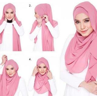 Tutorial hijab scarf segi empat kreasi baru