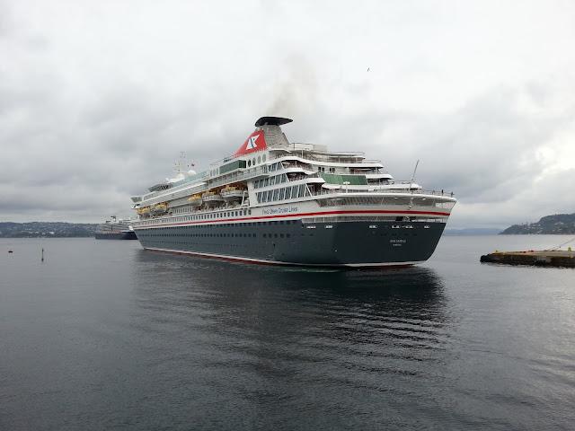 Fred Olsen cruise ship Balmoral docking in Bergen, Norway