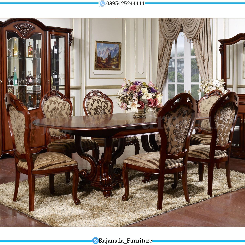 Meja Makan Mewah 6 Kursi Jati Natural Mebel Luxury Jepara RM-0127