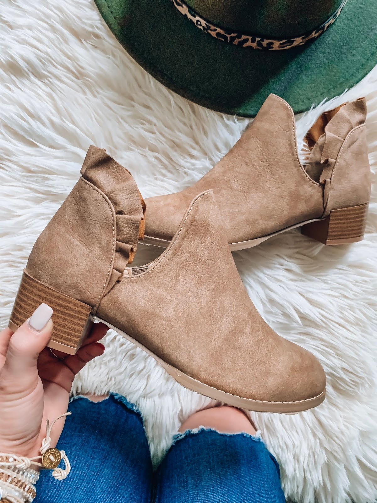 Recent Amazon Finds: Sweaters & Cardigans Edition - Under $40 Ruffle Back Booties - Something Delightful Blog #FallStyle #AmazonFashion #AffordableStyle
