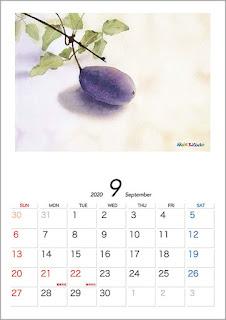 カレンダー、9月 あけび