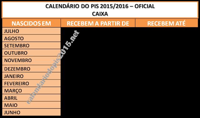 Calendário do PIS 2015 Oficial