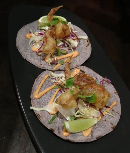 The Black Toro - soft shell crab taco with blue corn tortilla