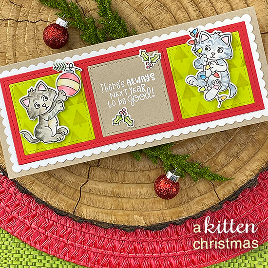 Kitten Holiday Slimline card by Jennifer Jackson | A Kitten Christmas Stamp Set, Tiny Trees Stencil, Slimline Frames & Portholes and Slimline Frames & Windows Set by Newton's Nook Designs #newtonsnook #handmade