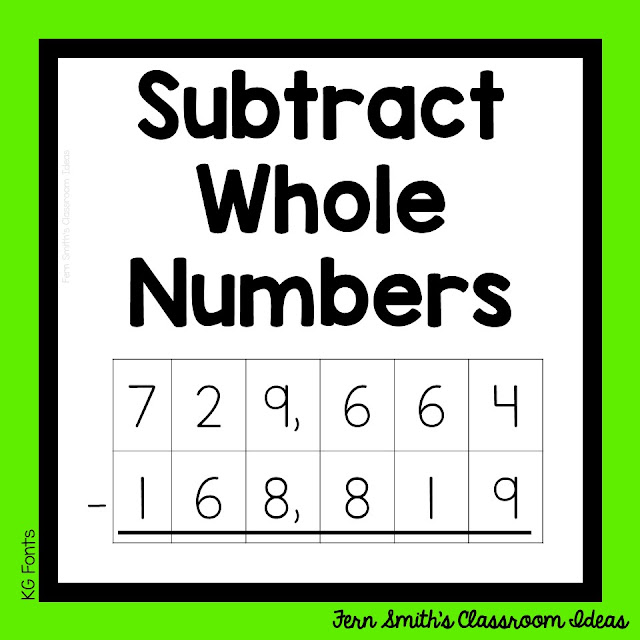 """This week's post is about teaching how to subtract whole numbers. Pin this post for lesson plans, task cards and center games. #FernSmithsClassroomIdeas"""""""