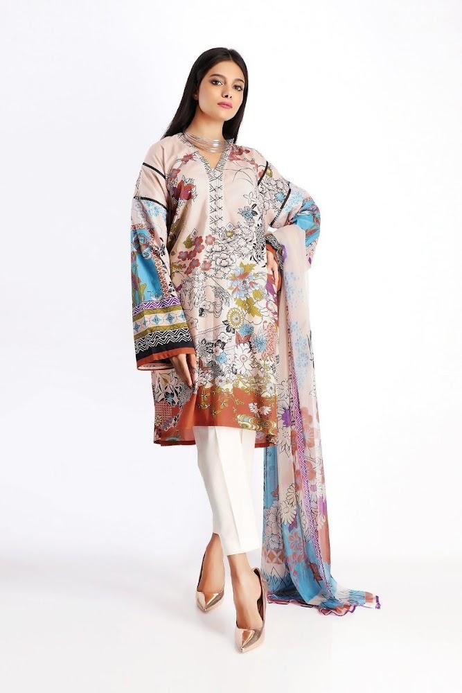 Khaadi beige Lawn Printed Shirt Dupatta