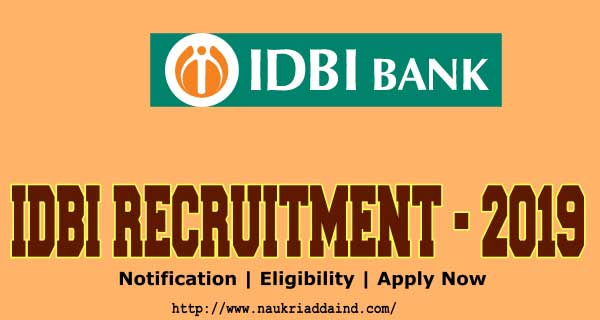 IDBI executive recruitment 2019