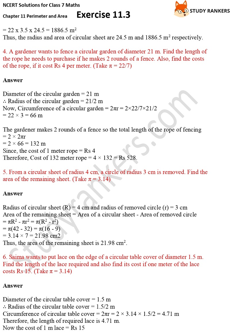 NCERT Solutions for Class 7 Maths Ch 11 Perimeter and Area Exercise 11.3 2