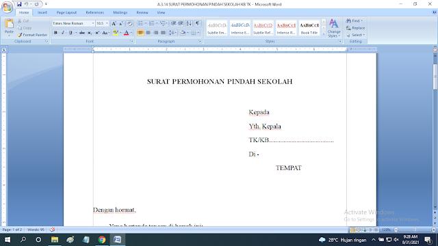 Download Contoh Surat Permohonan Pindah Sekolah Paud TK KB RA