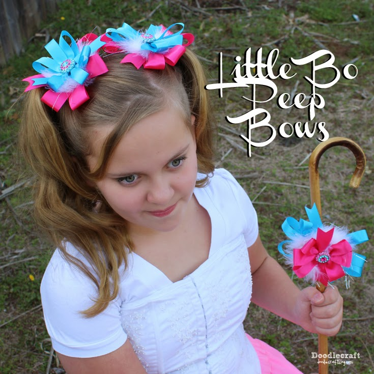 little bo peep layered hair bows for pigtails in pink, feathers and blue