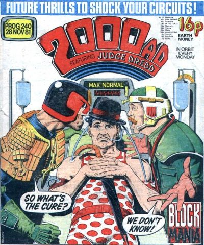 2000 AD prog 240, Judge Dredd and Max Normal, hospital bed
