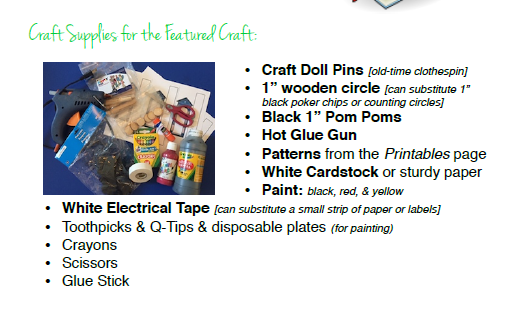 Materials needed for English craft from Let's Go Geography
