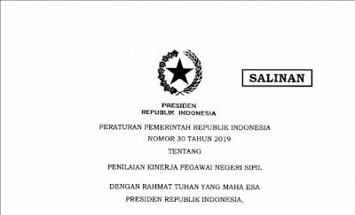 PP Nomor 30 Tahun 2019 tentang Penilaian Pegawai Negeri Sipil